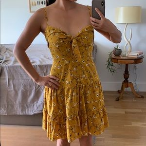 Yellow floral dress with tie